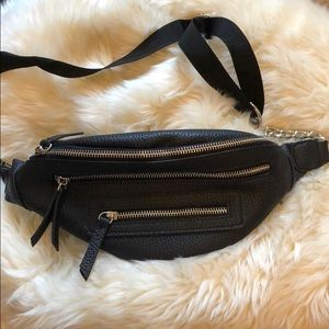 Handbags - Black Pebbled Leather Look Fanny Pack